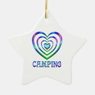 Ornement Étoile En Céramique Coeurs de camping