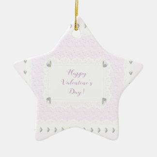 Ornement Étoile En Céramique Coeurs et dentelle de Valentine, rose en pastel et