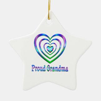 Ornement Étoile En Céramique Coeurs fiers de grand-maman