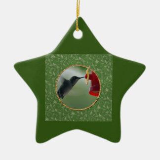 Ornement Étoile En Céramique Colibri au conducteur dans le rond, oiseaux sur