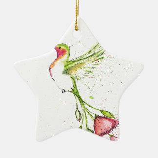 Ornement Étoile En Céramique colibri de queue de fleur