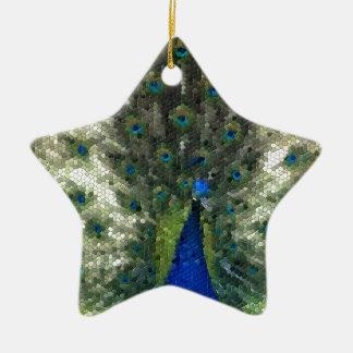 Ornement Étoile En Céramique Collectection mosaîque - Parade amoureuse du Paon