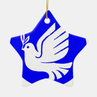 Ornement Étoile En Céramique Colombe de paix