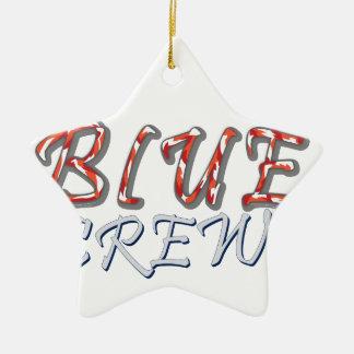 Ornement Étoile En Céramique Conception bleue d'équipage