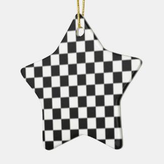 Ornement Étoile En Céramique Conception de drapeau de course de damier