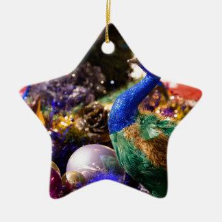 Ornement Étoile En Céramique Conception de Noël de paon