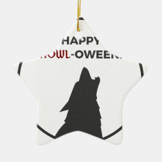 Ornement Étoile En Céramique Conception heureuse de Halloween de loup-garou