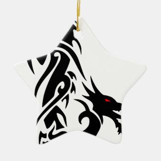 Ornement Étoile En Céramique Conception noire de tatouage de dragon