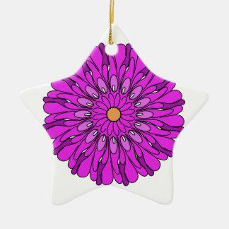 Ornement Étoile En Céramique Conception rose d'art numérique de fleur