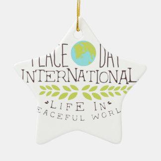 Ornement Étoile En Céramique Conceptions internationales d'étiquette de jour de