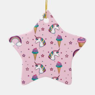 Ornement Étoile En Céramique Conte de fées de licorne de glace de petit gâteau