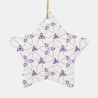 Ornement Étoile En Céramique Copie pourpre et blanche de Trillium
