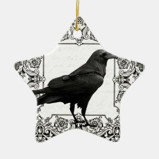Ornement Étoile En Céramique Corbeau vintage de Halloween