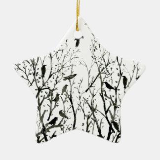 Ornement Étoile En Céramique Corneilles d'aquarelle en bois au noir de nuit