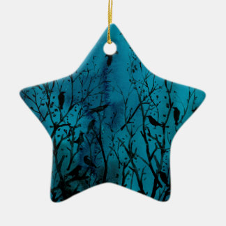 Ornement Étoile En Céramique Corneilles d'aquarelle en bois la nuit
