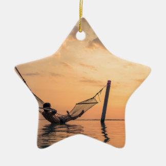 Ornement Étoile En Céramique Coucher du soleil de Bali