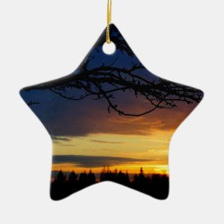 Ornement Étoile En Céramique Coucher du soleil de bleu d'île
