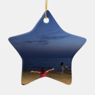 Ornement Étoile En Céramique Coucher du soleil de l'Espagne