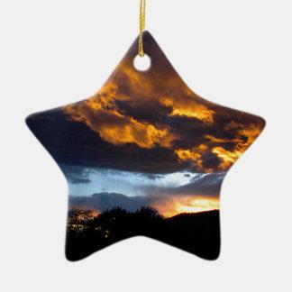 Ornement Étoile En Céramique Coucher du soleil du Montana