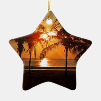 Ornement Étoile En Céramique Coucher du soleil tropical