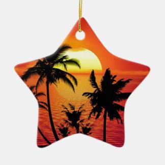 Ornement Étoile En Céramique Coucher du soleil tropical de plage d'été de