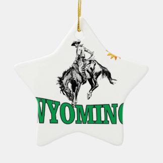 Ornement Étoile En Céramique Cowboy du Wyoming