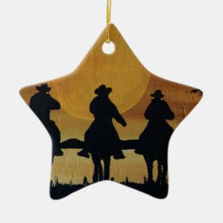 Ornement Étoile En Céramique cowboys et chevaux