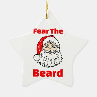 Ornement Étoile En Céramique Crainte drôle la barbe le père noël