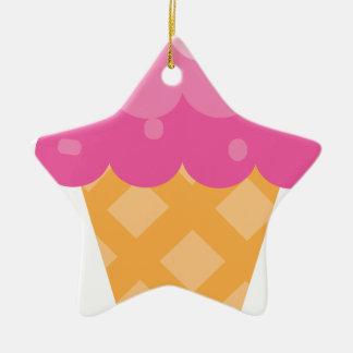 Ornement Étoile En Céramique Crème glacée rose