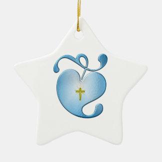 Ornement Étoile En Céramique Croix à l'intérieur de joli coeur
