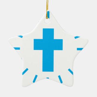 Ornement Étoile En Céramique Croix de Jésus-Christ