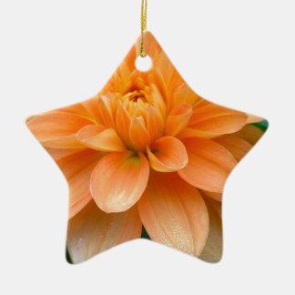 Ornement Étoile En Céramique Dahlia orange