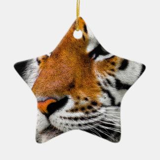 Ornement Étoile En Céramique Dangereux prédateur animal d'Amurtiger de chat de