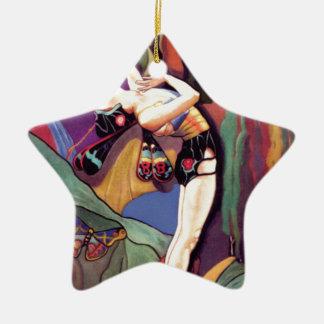 Ornement Étoile En Céramique Danse avec des papillons