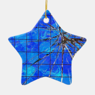 Ornement Étoile En Céramique De coupure bleu dessus -