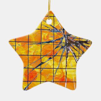 Ornement Étoile En Céramique De coupure jaune dessus -