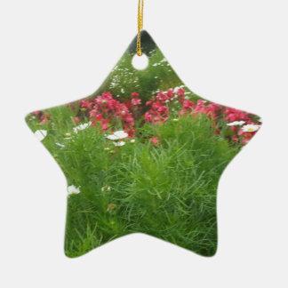 Ornement Étoile En Céramique De fleurs roses de nature herbe florale et