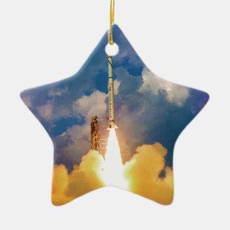 Ornement Étoile En Céramique Décollage de lancement de Rocket de scout de la