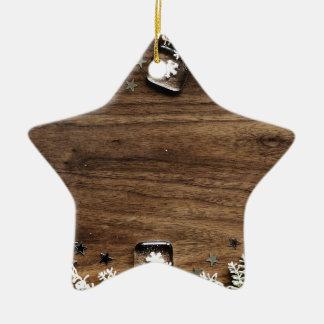 Ornement Étoile En Céramique décor en bois de joie de vacances de neige de Noël