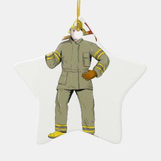 Ornement Étoile En Céramique Dessin américain de hache du feu de sapeur-pompier