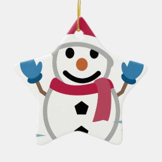 Ornement Étoile En Céramique Dessin de bonhomme de neige
