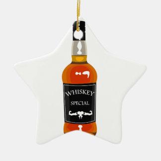 Ornement Étoile En Céramique Dessin de bouteille de whiskey d'isolement sur
