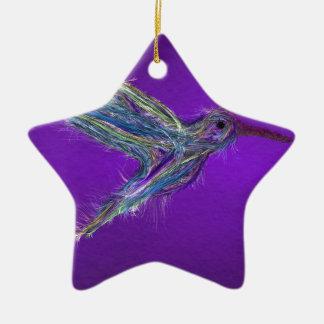 Ornement Étoile En Céramique Dessin de colibri