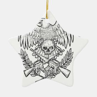 Ornement Étoile En Céramique Dessin de fusil d'assaut de crâne d'Eagle
