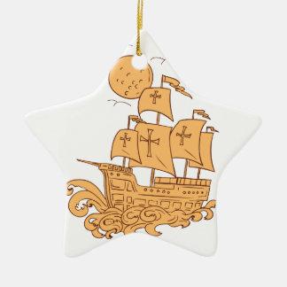Ornement Étoile En Céramique Dessin de lune de bateau de navigation de