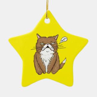 Ornement Étoile En Céramique Dessin grincheux drôle de chat de Meh
