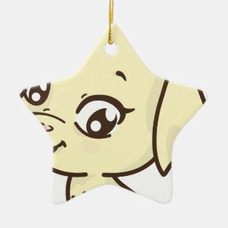 Ornement Étoile En Céramique Dessin heureux de chiot