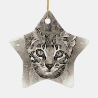Ornement Étoile En Céramique Dessin mignon de chaton du Bengale