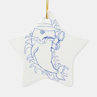 Ornement Étoile En Céramique Dessin révélateur d'épaulard d'orque