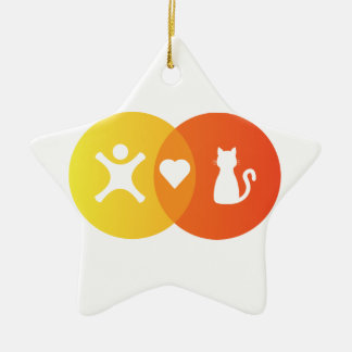 Ornement Étoile En Céramique Diagramme de Venn de chats de coeur de personnes